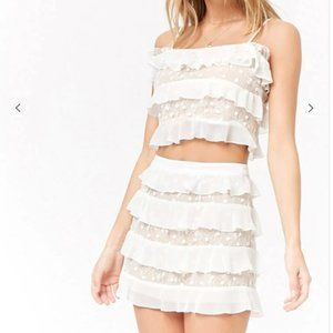 F21 White Lace & Ruffle Set